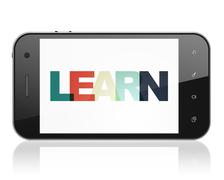 Studying concept: Smartphone with Learn on  display - stock illustration