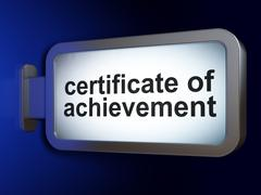Education concept: Certificate of Achievement on billboard background Stock Illustration
