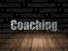 Learning concept: Coaching in grunge dark room - stock illustration