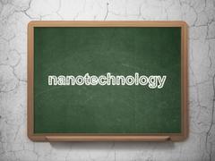 Science concept: Nanotechnology on chalkboard background - stock illustration