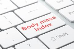 Healthcare concept: Body Mass Index on computer keyboard background - stock illustration