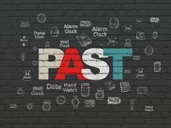 Time concept: Past on wall background Stock Illustration