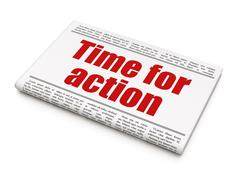 Time concept: newspaper headline Time For Action - stock illustration