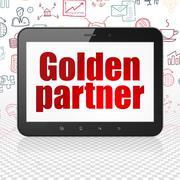 Finance concept: Tablet Computer with Golden Partner on display - stock illustration
