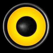 Yellow audio speaker isolated on black background Kuvituskuvat