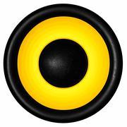 Yellow audio speaker isolated on white background Kuvituskuvat