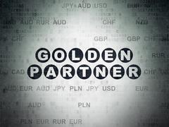 Business concept: Golden Partner on Digital Data Paper background - stock illustration