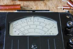 Close-up of an vintage ancient voltmeter Stock Photos