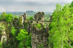 Bastei bridge in Saxon Switzerland in summer, Germany - stock photo