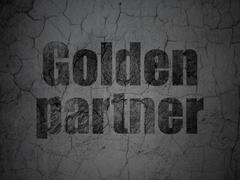 Business concept: Golden Partner on grunge wall background Stock Illustration
