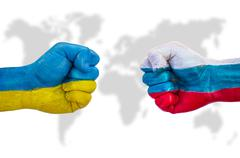 Fists world powers Ukraine and Russia vying with each other - stock illustration