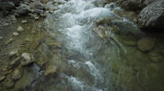 Mountain River Flowing Among Stones Stock Footage