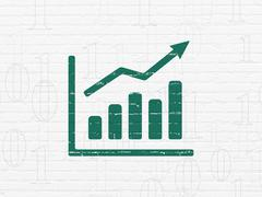 Business concept: Growth Graph on wall background - stock illustration