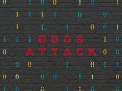 Security concept: DDOS Attack on wall background Stock Illustration