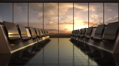 Flight waiting hall. lounge, sunset. moving camera. 3D illustration, rendering. - stock footage
