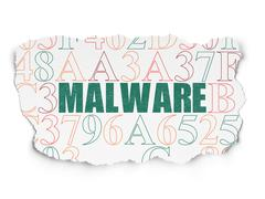 Security concept: Malware on Torn Paper background - stock illustration