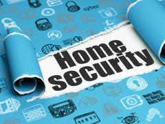 Safety concept: black text Home Security under the piece of  torn paper - stock illustration
