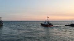 Boat in sea evening view Stock Footage