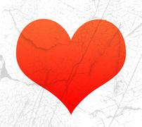 Red heart shape with texture Stock Illustration