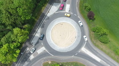 Traffic circle roundabout aerial view Stock Footage