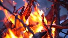 Bonfire fire on wild nature background with mountains Stock Footage