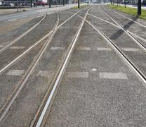 Streetcar or tram tracks Stock Photos