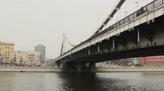 Iron Bridge Over The River - stock footage