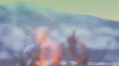 Bonfire on mountains. Indigo color Stock Footage