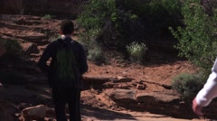 Enjoying the hike, America's National Parks, Arches, Moab, Utah Stock Footage