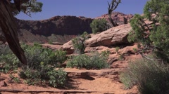Couple walking, America's National Parks, Arches, Moab, Utah Stock Footage