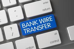 Blue Bank Wire Transfer Keypad on Keyboard - stock illustration