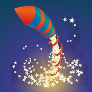 Flying firework rocket with a ribbon and stars in the night sky Piirros