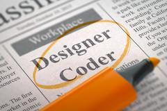 Designer Coder Join Our Team - stock illustration