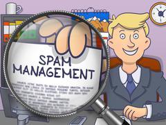 Spam Management through Magnifier. Doodle Concept - stock illustration