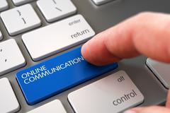 Hand Finger Press Online Communication Keypad - stock illustration