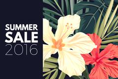 Summer tropical hawaiian background with palm tree leaves and exotic flowers Stock Illustration