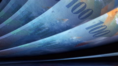Cash Money Counting. Swiss Francs (CHF) Banknotes. Easy to Loop. Stock Footage