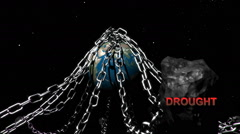 Earth with chains highlighting humanities problems, Drought. Stock Footage