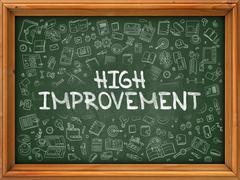 High Improvement - Hand Drawn on Green Chalkboard Stock Illustration