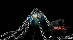 Earth with chains highlighting humanities problems, War Stock Footage
