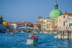 VENICE, ITALY - JUNE 18, 2015: Nice view of grand canal in Venice, people - stock photo