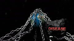 Earth with chains highlighting humanities problems, Disease. Stock Footage