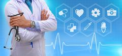 Medicine doctor standing with modern computer interface Stock Photos