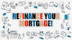 Refinance Your Mortgage Concept. Multicolor on White Brickwall Stock Illustration