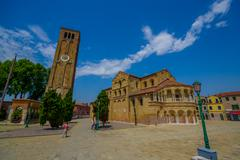 MURANO, ITALY - JUNE 16, 2015:  Spectacular view in a sunny day of Murano s - stock photo