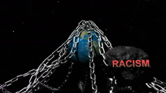 Earth with chains highlighting humanities problems, Racism. - stock footage