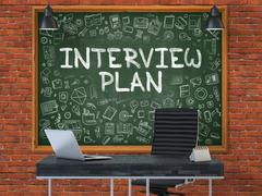 Hand Drawn Interview Plan on Office Chalkboard - stock illustration