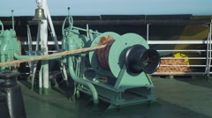 Winch With Rope On The Ferry Stock Footage