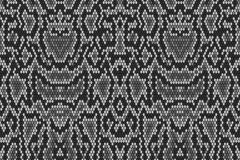 Snake python skin texture. Seamless pattern black on white background. grey - stock illustration