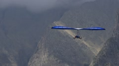 Blue hang glider Stock Footage